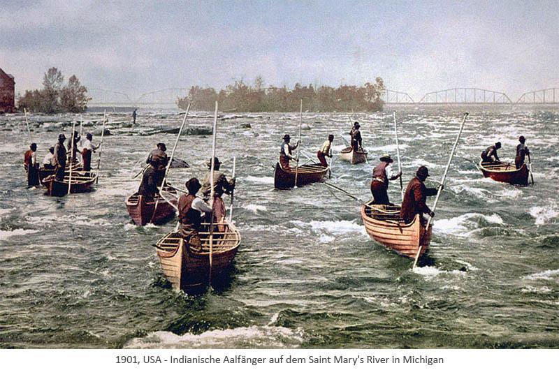 kolor. Fotopostkarte: Indianische Aalfänger in Booten mit Aalstechern - 1901, Michigan