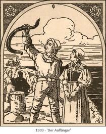 Zeichnung: Fischer hält gefangenen Aal in die Höhe - 1903