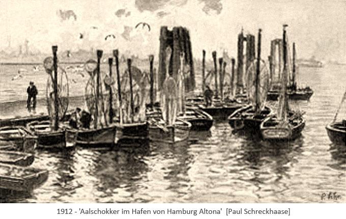 lavierte Tuschezeichnung: mehrere an Steg vertäute Aalschokker - 1912