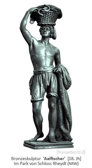 Bronzeskulptur: Fischer trägt Korb mit Aalen auf dem Kopf und Fangnetz am Arm - 18. Jh, Schloss Rheydt (NRW)