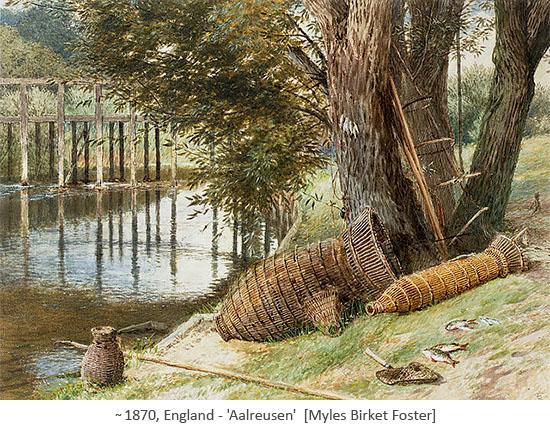 Gemälde: verschiedene geflochtene Aalkörbe an Gewässerböschung liegend ~1870, GB