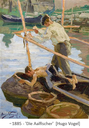 Gemälde: Fischer fangen Aale mit Körben ~1885