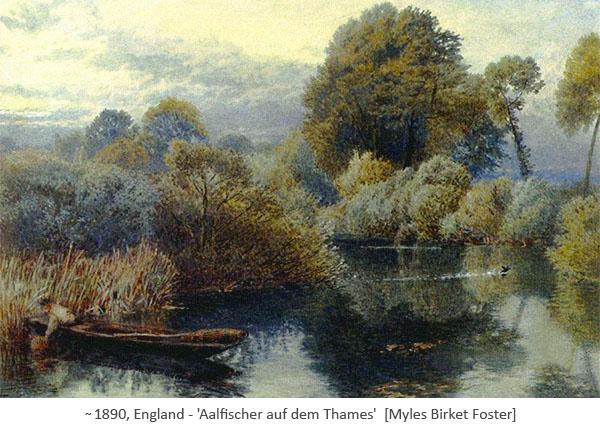Gemälde: Aalfischer im Kahn mit Fangkörben ~1890, GB