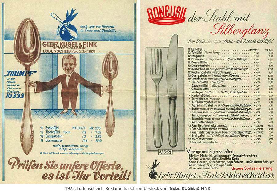 Reklame für Chrombesteck von GEBR. KUGEL & FINK - 1922