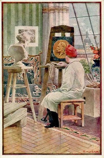 Bildhauer im Atelier vor einem Relief auf der Staffelei