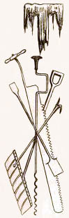 Zeichnung: verschiedene Werkzeuge zur Eisbearbeitung
