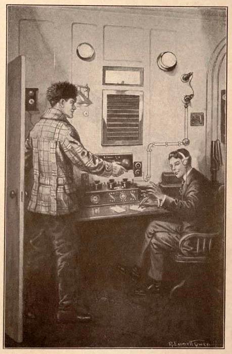 Buchillustration: zwei Männer im Funkerraum