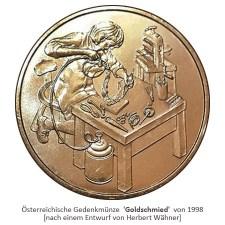 goldene Münze mit arbeitendem Goldchmied - 1998, Österreich