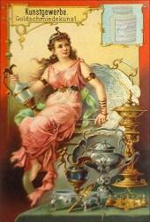 Liebig-Sammelbild: inmitten von Goldschmiedearbeiten sitzende junge Frau ~1900