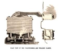 Schematische Zeichnung: Transformator und Schweißapparatur