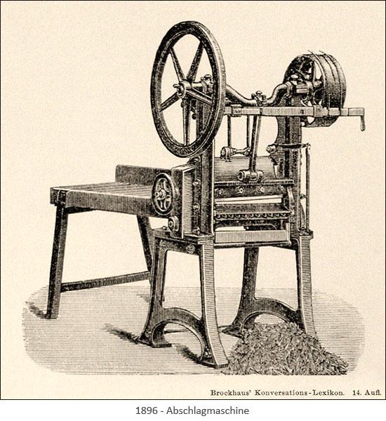 Stahlstich: Abschlagmaschine