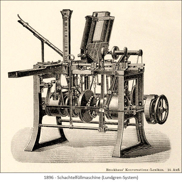 Stahlstich: Schachtelfüllmaschine
