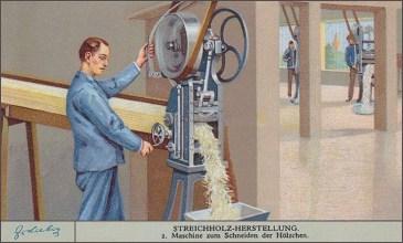Sammelbild: Männer schneiden Streichhölzer an Abschlagmaschinen