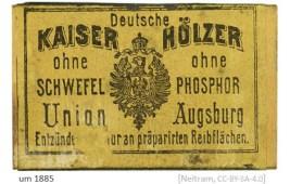 Farbfoto: alte Streichholzschachtel von ca. 1885