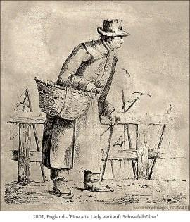 Federzeichnung: alte Lady am Stock verkauft Schwefelhölzer - 1801, GB