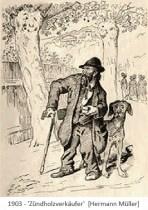 Zeichnung: alter Zündholzverkäufer mit Krückstock und Hund - 1903