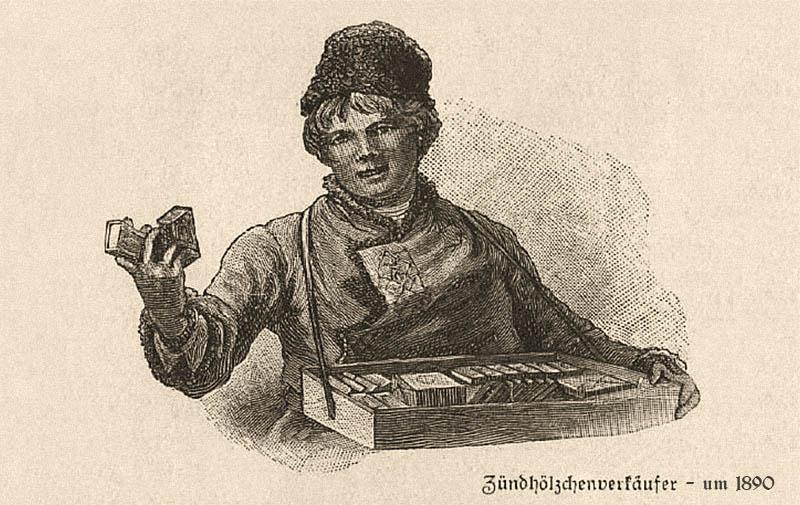 Kupfertstich: Streichholzverkäufer mit Bauchladen