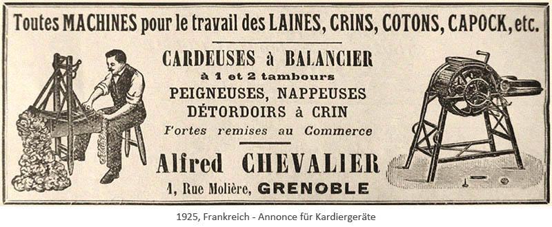 Annonce: Angebot für Wollverarbeitungsgeräte - 1925, FR