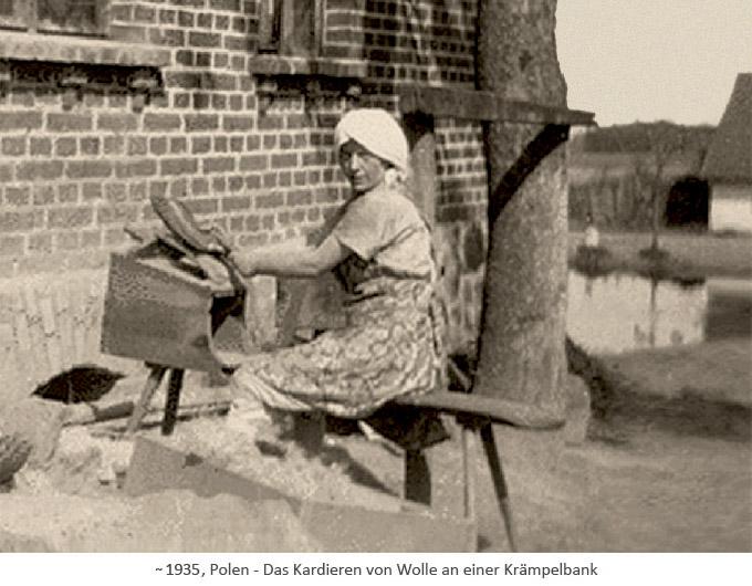 sw Foto: Polin bearbeitet Wolle auf Krämpelbank ~1930, PL
