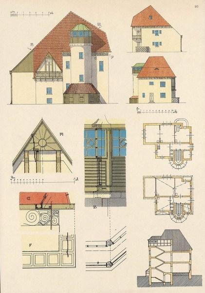 farbige Architekturzeichung eines Hauses