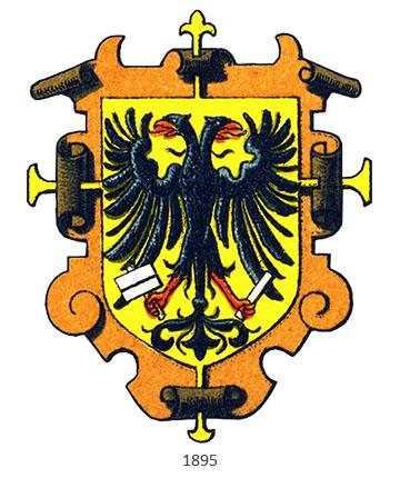 Buchdrucker-Zunftwappen: mittig ein Doppelkopfadler - 1895