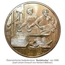 goldene Münze mit 2 arbeitenden Buchdruckern - 1998, Österreich