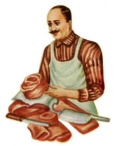cutout: Fleischer mit Fleischstücken