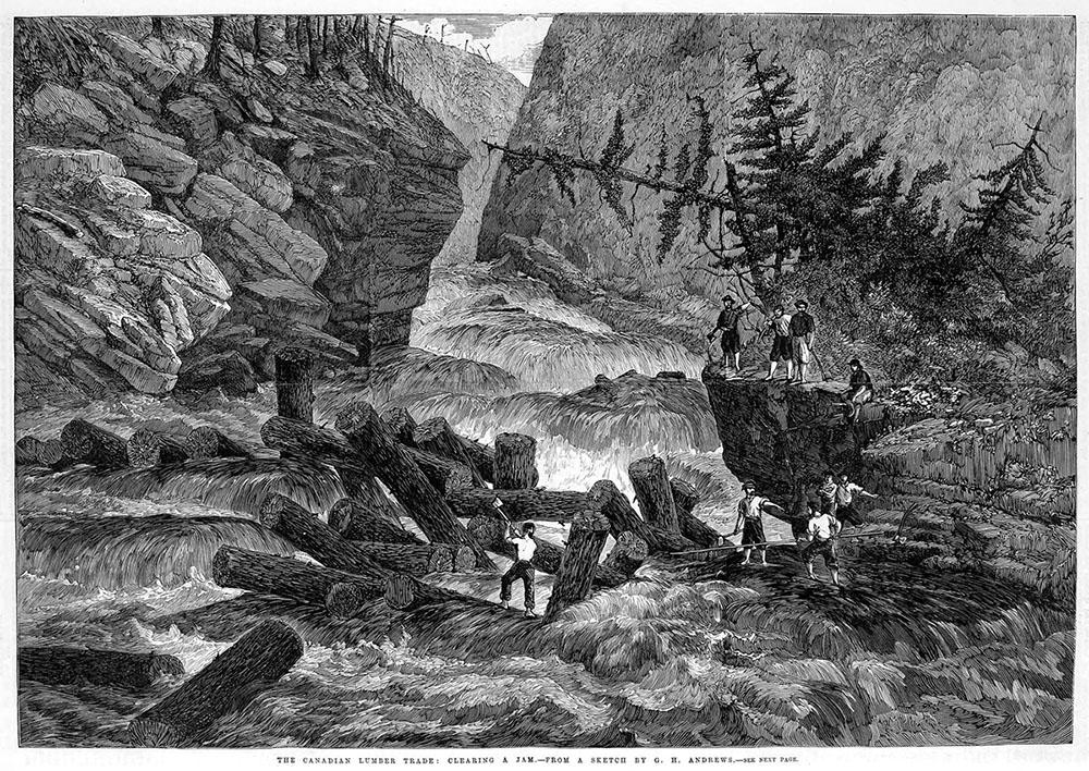 sw-Zeichnung: Holzfäller schmeißen gefällte Baumstämme in strömenden Fluss