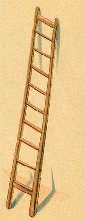 illu: an Wand angelehnte Holzleiter