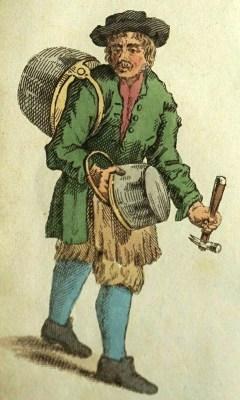 farbige Zeichnung: Mann mit zwei Kesseln und einem Hammer