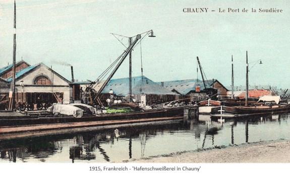kolorierte Postkarte: Hafenschweißerei in Chauny - 1915, FR