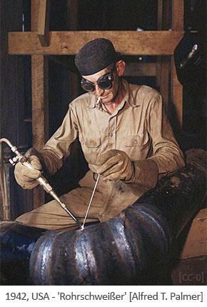 Farbfoto: Rohrschweißer - 1942, USA