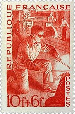 Briefmarke: Schweißer ~1950, Frankreich