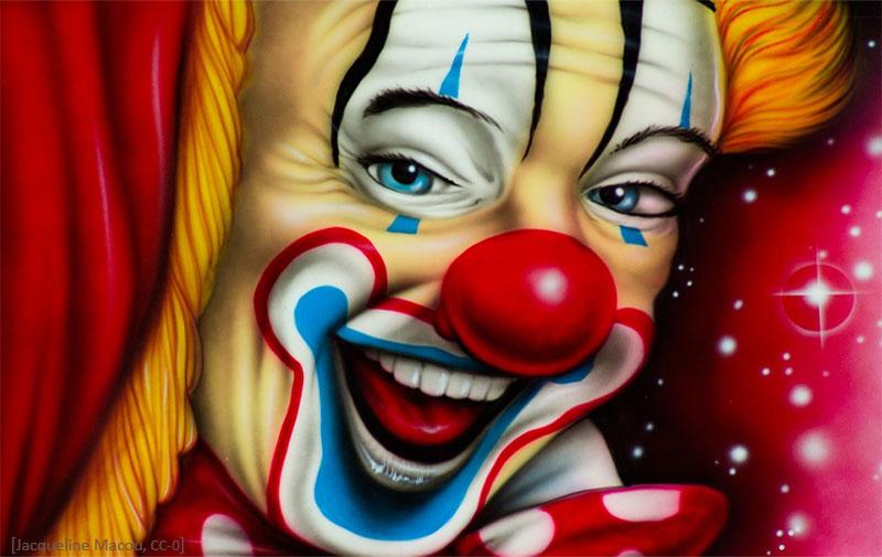 Farbfoto: Clownsgesicht in Großaufnahme - 2015, FR
