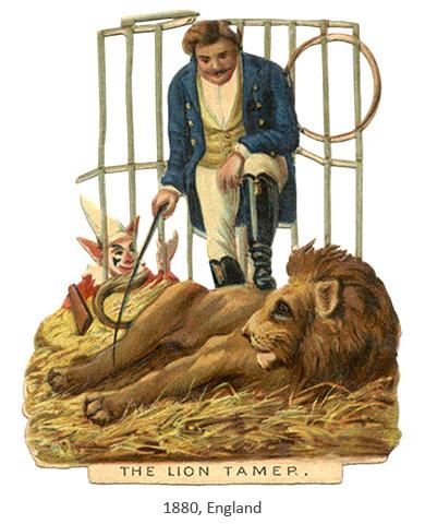 Oblatenbild: Dompteur und liegender Löwe - 1880, GB