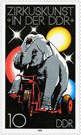 Briefmarke: 'Elefant auf Dreirad' - 1978, DDR
