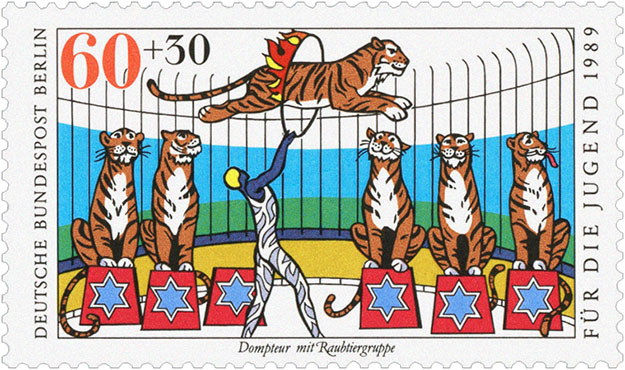Briefmarke: 'Dompteur mit Tiegergruppe' - 1989, BRD