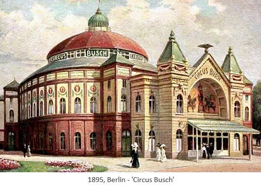 Gemäldepostkarte: Gebäude von CIRCUS BUSCH - 1895, Berlin