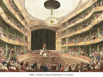 kolorierter Stich: Astley's Royal Ampitheatre in London - 1808