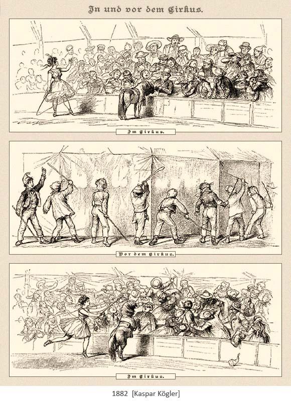 3 Zeichnungen: Zirkusshow / Jugendliche attackieren Zirkuszelt mit Stöcken von außen / Prügelei im Zelt - 1882