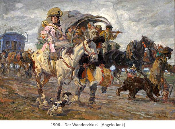 Gemälde: Zirkusleute über Land unterwegs mit Wagen und Tieren - 1906