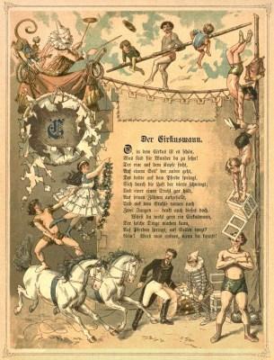 Farblitho: Zirkuskünstler umrunden Gedicht vom Zirkusmann ~1860