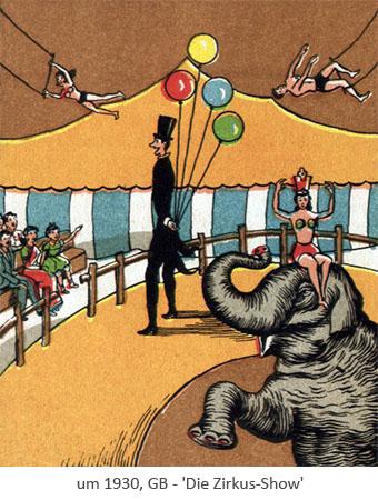 Farblitho: Die Zirkus-Show - um1930, GB