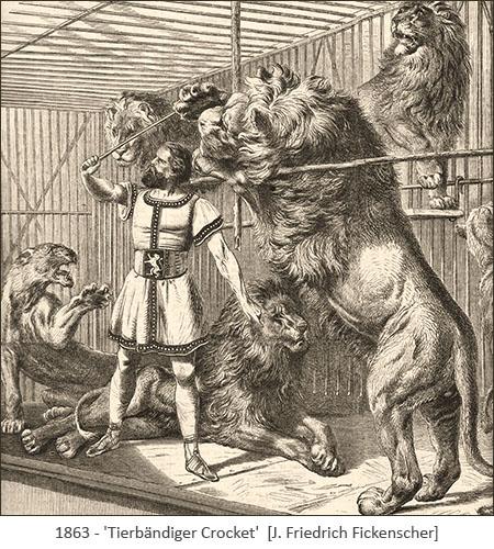 Kupferstich: Dompteur mit Löwen in engem Käfig - 1863