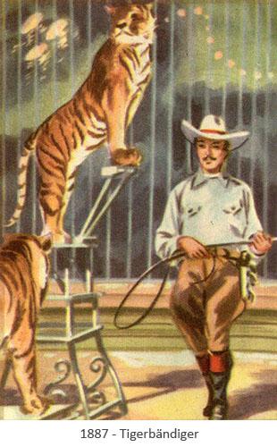 Sammelbild: Dompteur mit Tigern - 1887