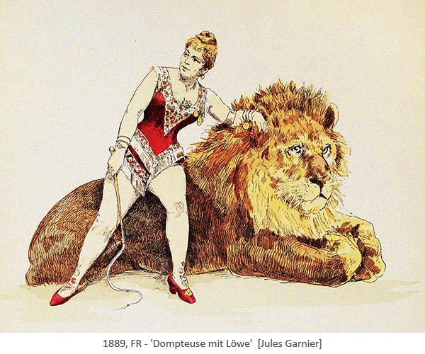 Farblitho: Dompteuse an liegenden Löwen gelehnt - 1889, FR
