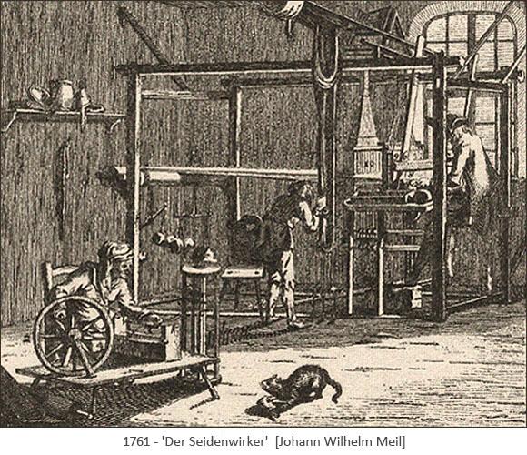 Kupferstich: Blick in Seidenwirkerstube - 1761