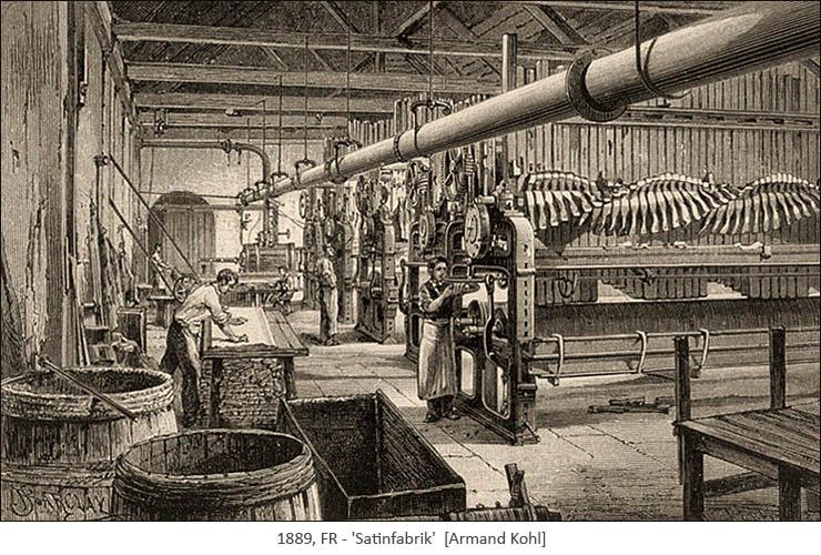 Kupferstich: Blick in eine Satinfabrik - 1889, FR