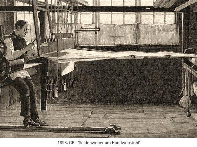 Kupferstich: Seidenweber am Handwebstuhl - 1893, GB