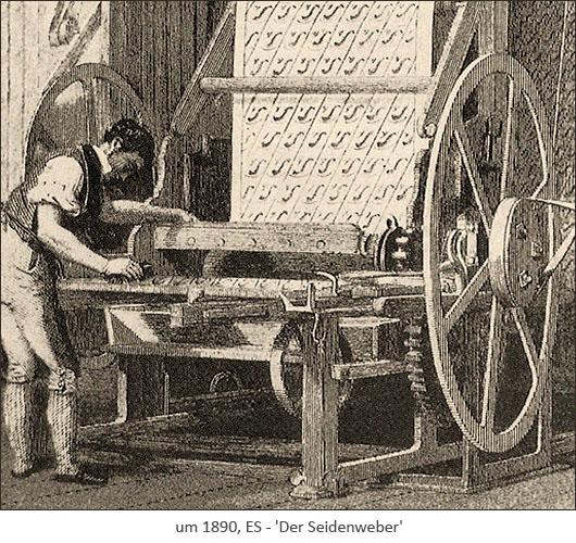 Kupferstich: Seidenweber im Stehen am Webstuhl arbeitend ~1890, ES